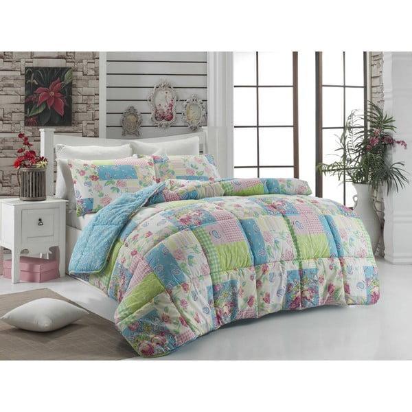 Narzuta pikowana na łóżko dwuosobowe Yumatu Mint, 195x215 cm