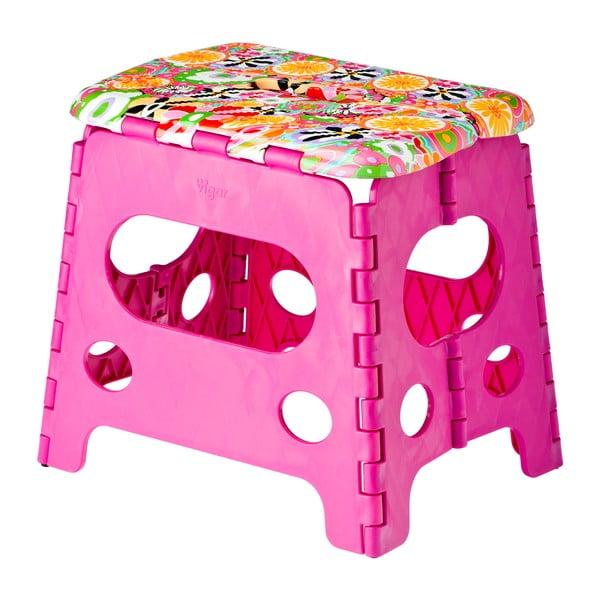 Różowy składany stołek Vigar Citric, duży