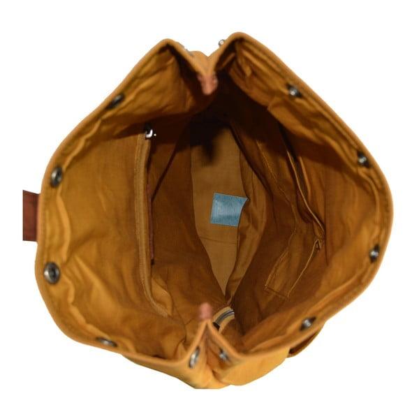 Musztardowy skórzany plecak Adventurer