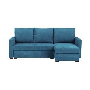 Niebieska 3-osobowa narożna rozkładana sofa ze schowkiem Melart Andy