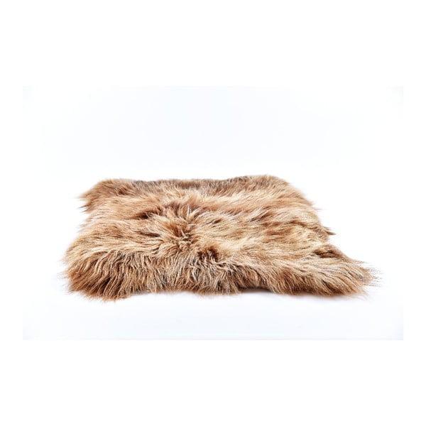 Brązowy dywan futrzany z długim włosiem, 90x80 cm