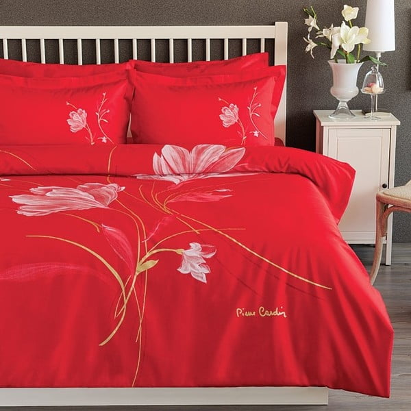 Komplet pościeli Pierre Cardin red Flower z prześcieradłem, 200x220 cm