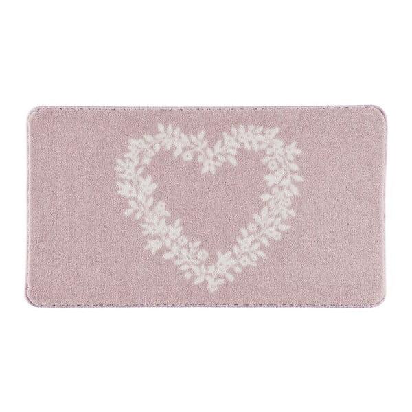Dywanik łazienkowy Spring Heart Pink, 80x140 cm