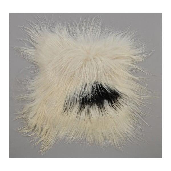 Czarno-biała poduszka futrzana do siedzenia z długim włosiem Spotted, 37x37 cm
