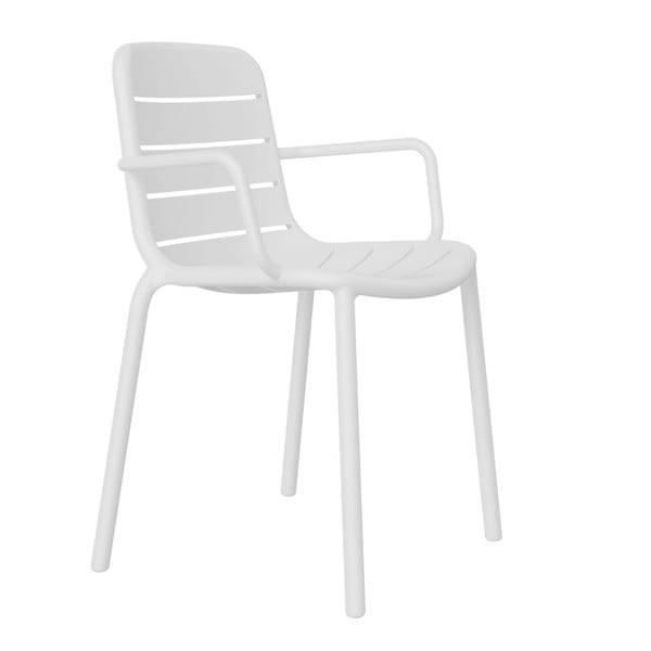 Zestaw 2 białych krzeseł ogrodowych z podłokietnikami Resol Gina