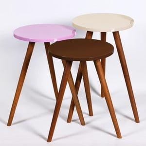 Zestaw 3 stolików Kate Louise Round (brązowy, różowy, kremowy)