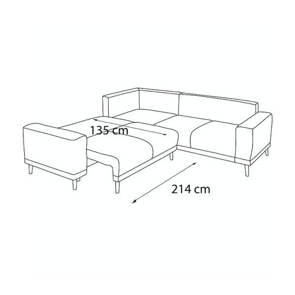 Ciemnoszara sofa rozkładana z podnóżkiem Bobochic Paris Luna