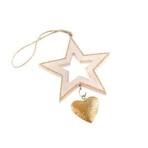 Drewniana gwiazda wisząca w kolorze złota Dakls