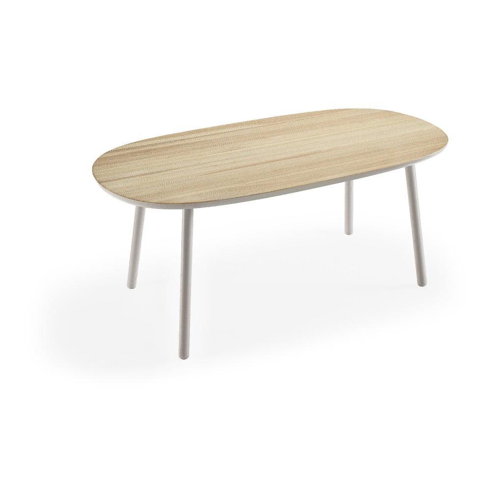 Stół z drewna jesionowego z szarymi nogami EMKO Naïve, 180x90 cm