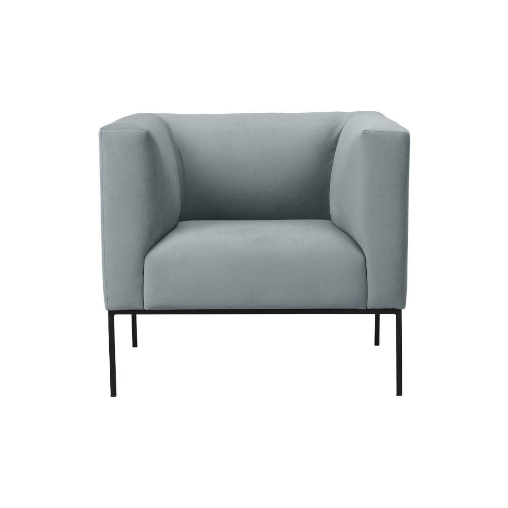 Jasnoszary fotel z czarną metalową kosntrukcją Windsor & Co Sofas Neptune