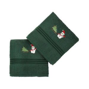 Zestaw 2 ręczników Corap Green Snowman, 50x90 cm