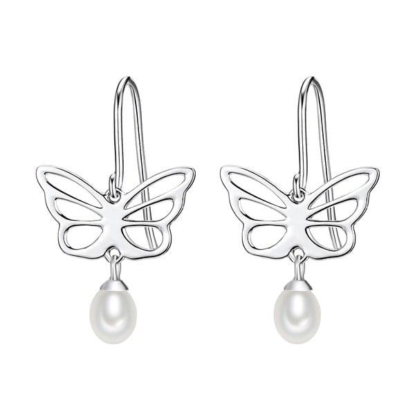 Srebrne   kolczyki z białą perłą Chakra Pearls Butterfly