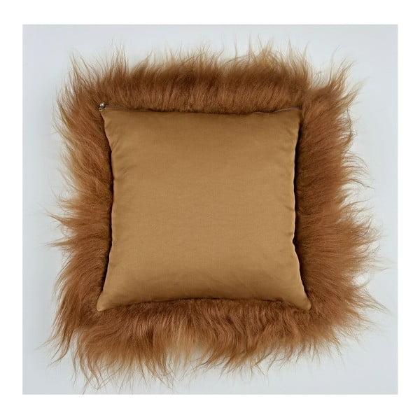Brązowa poduszka futrzana z długim włosiem, 35x35 cm