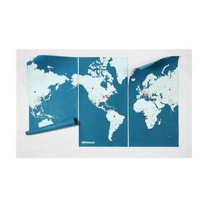 Niebieska ścienna mapa świata Palomar Pin World XL, 198x124cm