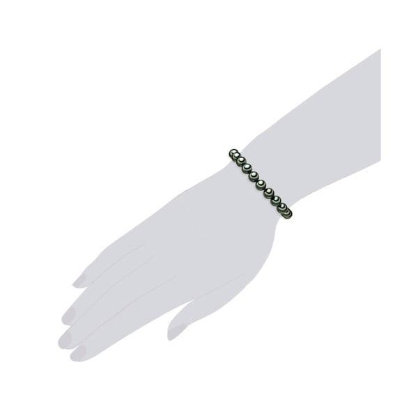 Perłowa bransoletka Muschel, zielone perły 8 mm, długość 17 cm