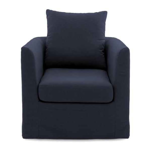 Granatowy fotel Vivonita Coraly