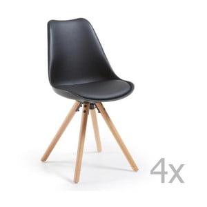 Zestaw 4 czarnych krzeseł z drewnianymi nogami La Forma Lars