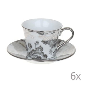 Zestaw kubków Coffee Silver Flowers, 6 sztuk