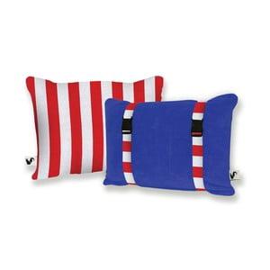 Niebieska dwustronna poduszka plażowa Origama Red Stripes