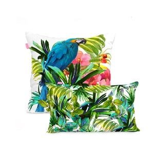 Zestaw 2 bawełnianych poszewek na poduszki Happy Friday Blue Macaw