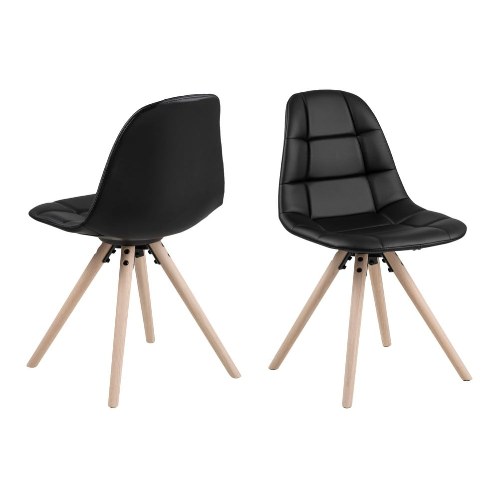 Czarne krzesło z konstrukcją z drewna dębowego Actona Lotta