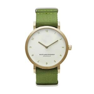 Zegarek unisex z zielonym paskiem South Lane Stockholm Sodermalm Gold Big