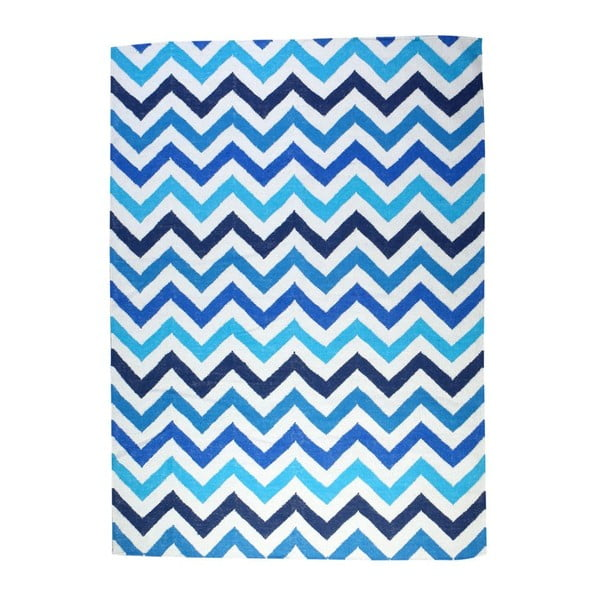 Dywan wełniany Geometry Zic Zac Blue Mix, 160x230 cm