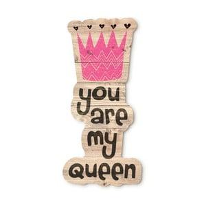 Drewniana dekoracja ścienna Tanuki You Are My Queen, 30x48 cm