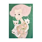 Autorski plakat Lény Brauner Panna z kotami, 44x60 cm