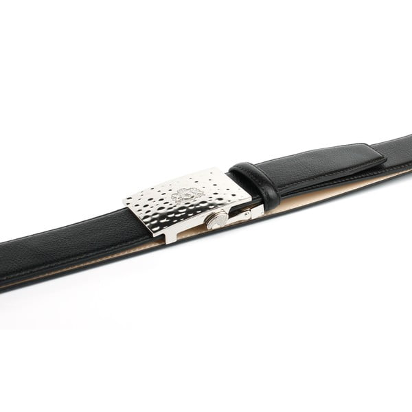 Pasek skórzany męski 12T10S Black, 110 cm