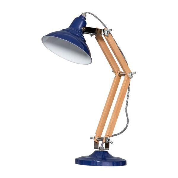 Drewniana lampa stołowa z niebieskim kloszem ETH Calia