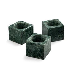 Zestaw 3 zielonych marmurowych świeczników NORDSTJERNE