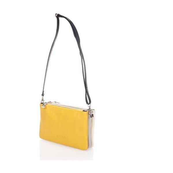 Skórzana torebka Krole Kody z 3 kieszonkami, żółta