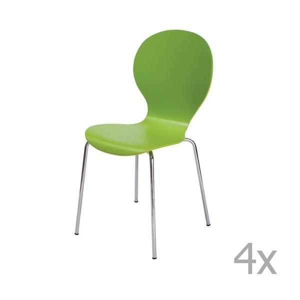 Zestaw 4 zielonych krzeseł 13Casa Siltou