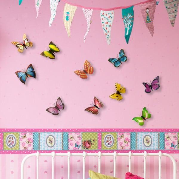 Naklejka Motyle 3D, kolorowe