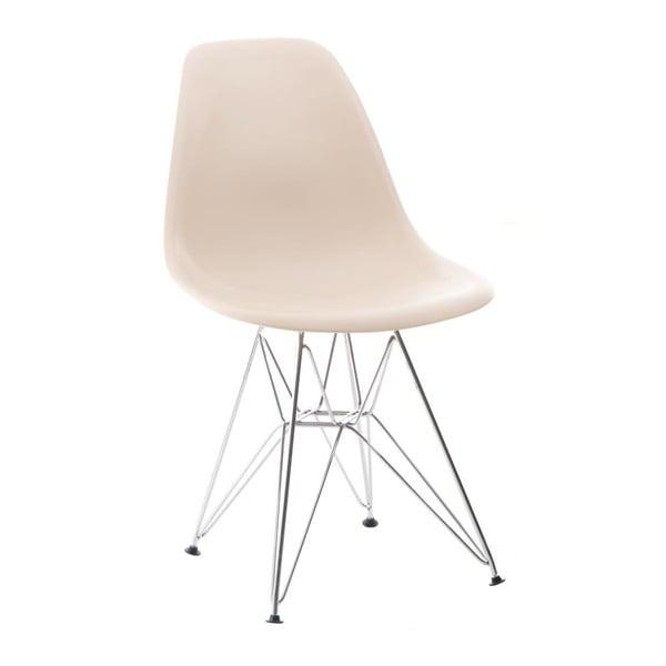 Beżowe krzesło D2, chromowe nogi