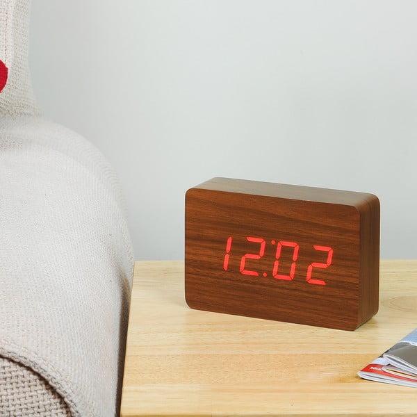 Ciemnobrązowy budzik z czerwonym wyświetlaczem LED Gingko Brick Click Clock