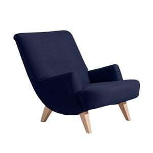 Ciemnoniebieski fotel z jasnobrązowymi nogami Max Winzer Brandford
