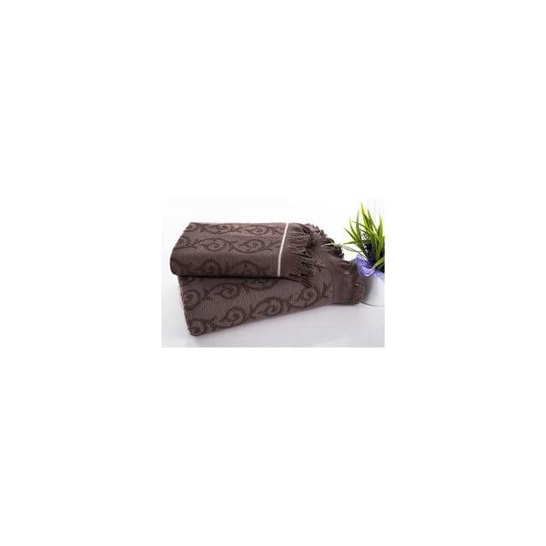 Komplet ręczników hamam Topak Brown, 50x90 oraz 70x150 cm