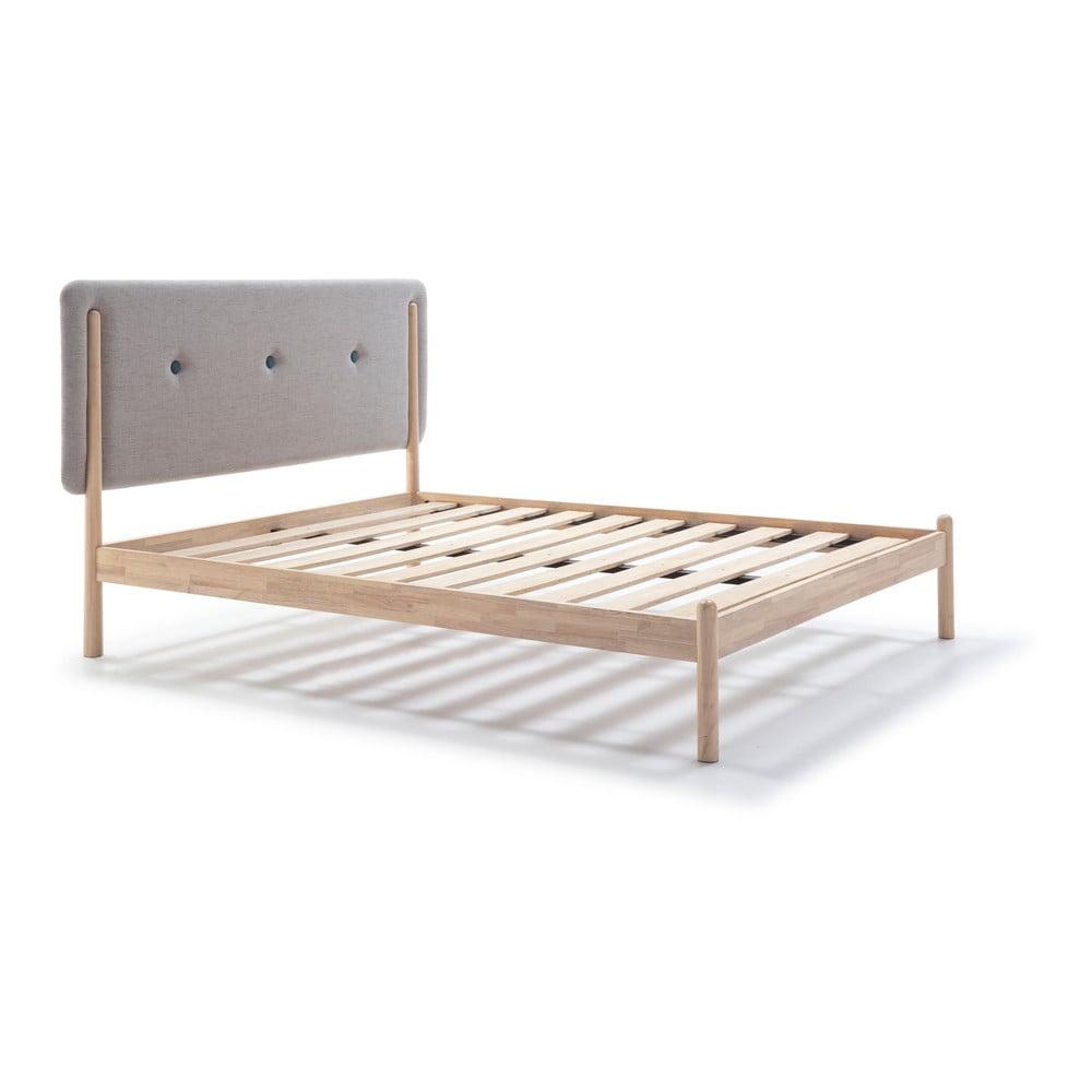Łóżko drewniane z szarym zagłówkiem Marckeric Annie, 140x200 cm