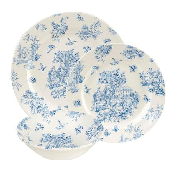 Zestaw 12 talerzy Toile Blue Mint de Jardin