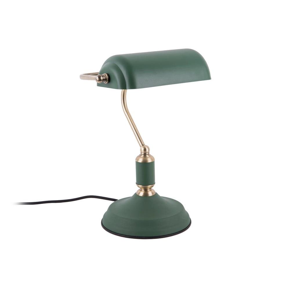 Zielona lampa stołowa z detalami w kolorze złota Leitmotiv Bank