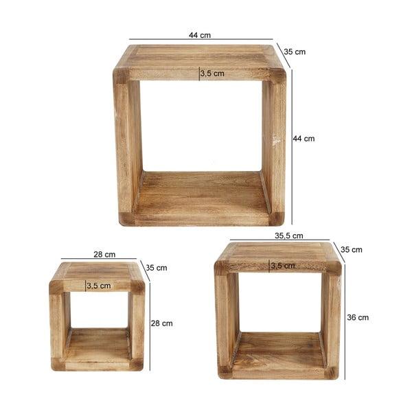 Zestaw 3 półek z jasnego drewna Mendler Shabby Trient