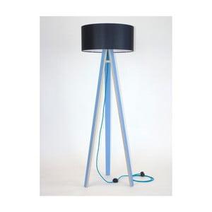 Niebieska lampa stojąca z czarnym abażurem i turkusowym kablem Ragaba Wanda