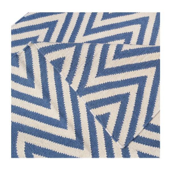Dywan wełniany Zig Zag Light Blue, 180x120 cm