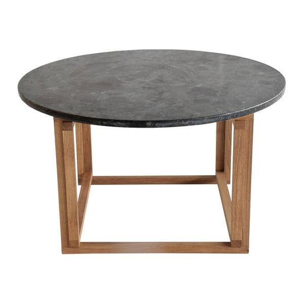 Czarny stolik granitowy z dębowymi nogami RGE Accent, ⌀85cm