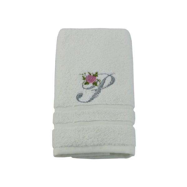 Ręcznik z inicjałem i różyczką P, 50x90 cm