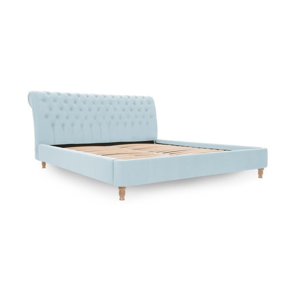 Pastelowo niebieskie łóżko z naturalnymi nóżkami Vivonita Allon, 140x200 cm