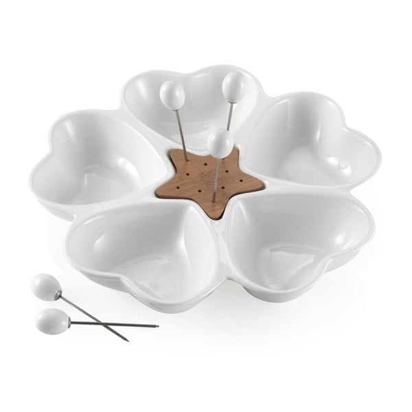 Miska do serwowania przekąsek z 5 wykałaczkami Brandani Cuori