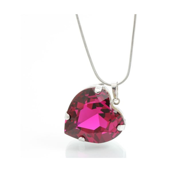 Naszyjnik Laura Bruni Swarovski Elements Heart Fuchsia